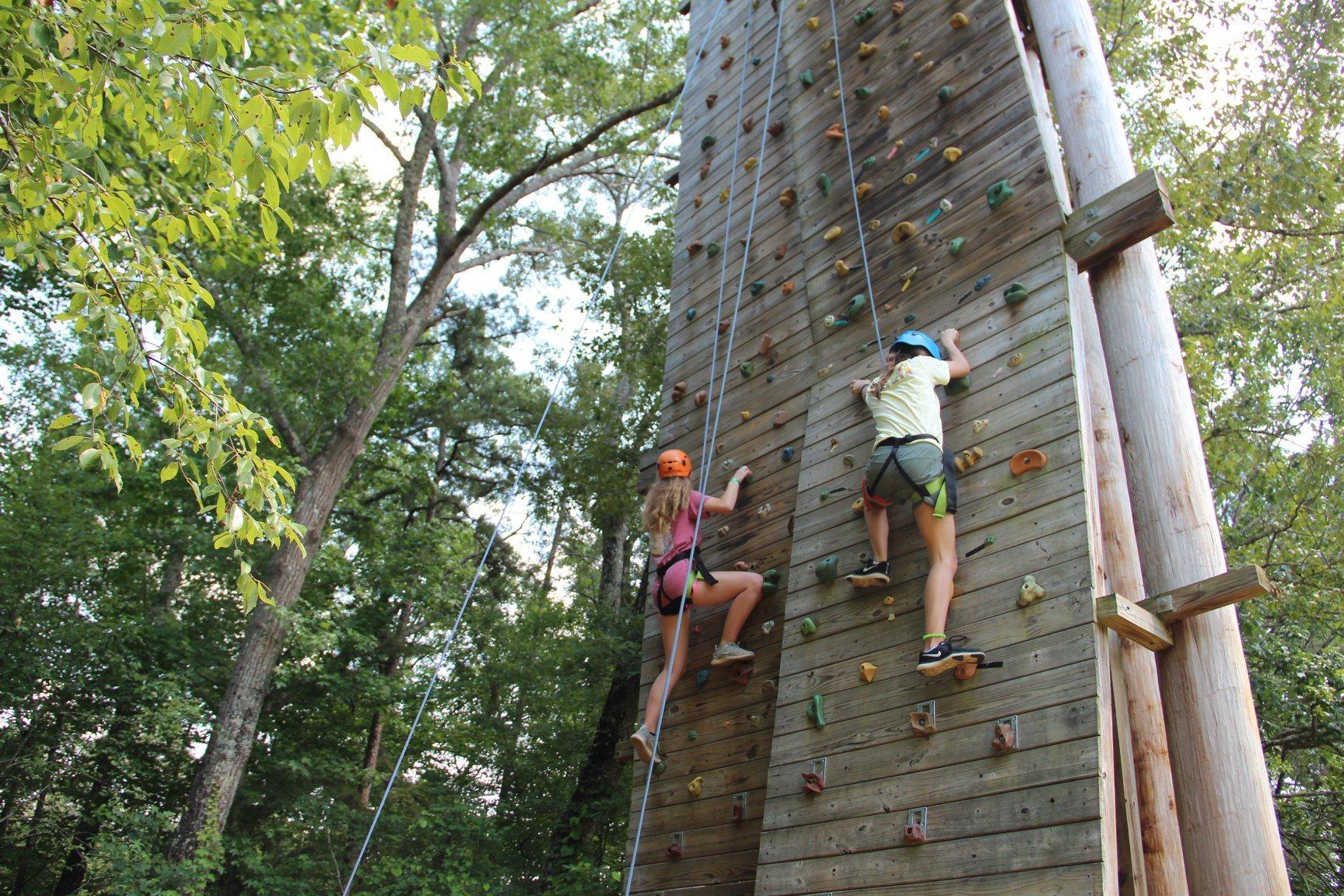 sophomore camp climbing wall